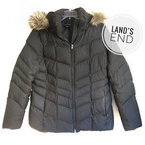 Lands' End Faux Fur Down Plus Size Winter Coat
